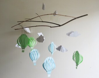 Air Balloon Mobile - Cloud Mobile, Home Decor, Kids Room, Nursery Mobile, Hanging Mobile, Hot Air Balloon, Baby Mobile, Branch Mobile