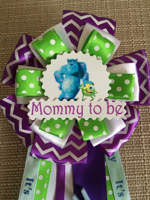 baby shower corsage pin monsters inc by babyguardians on etsy