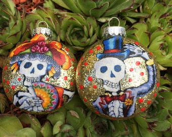 Skeleton Couple Day of the Dead Ornaments Set of 2