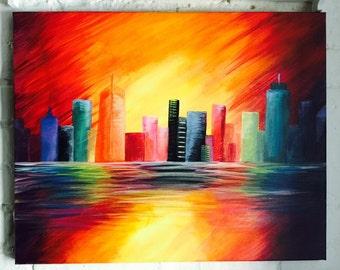 "20"" x 16"" ""Proud"" City Acrylic Painting"