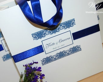 Wedding Welcome Bag with satin ribbon and custom tag - White and Royal Blue - Personalized Paper Gift Bags - Weddings Gifts  Favors