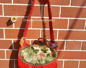 Bag Leather, flowers shoulder bag, vintage embroidery recycling, trimmings,bags,borsa,borse,wedding,handbag, red,red leather, tote,small bag