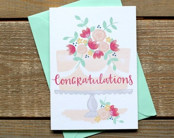 Celebration Cake Hand Illustrated Congratulations Card