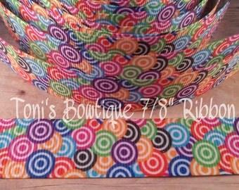 "fun bright rainbow swirly circles print 7/8"" Grosgrain Ribbon, circle rainbow ribbon, craft supply,hairbow supply, lanyard supply"