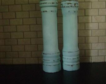 Shabby Chic Upcycled Pepper Mill & Salt Shaker