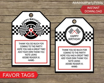 Instant Download-Race themed Party Favor Tags.