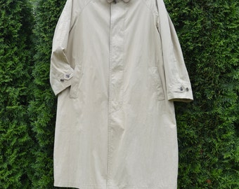 Vintage 90s Mens Trench Coat Beige Brown Button Up A Line Belted Raincoat Large Size