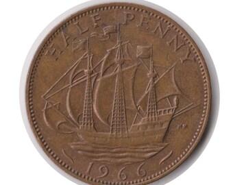 Elizabeth II Half Penny 1966 Coin (Code:JMC1827)