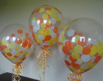 3, 6, or 10 Count: Large Confetti Balloons with Yellow, White, & Orange confetti- Wedding, Shower, 1st Birth, Baby, Fall, Homecoming, Candy