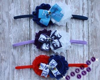 Shabby Kansas City Royals,  K-state Wildcats, and  KU Jayhawk headband-baby girl-toddler-child headband-photo prop, KC Royals hair bow
