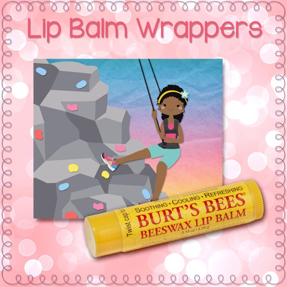 Rock Climbing Climber Girl Lip Balm Wrapper, Label, Chapstick, digital, instant download