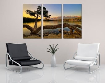Calm Lake & Tree at Dawn -3 Panel Split (Triptych) Canvas Print. Scenic landscape photography for home or office wall decor, interior design