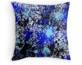Blue Paint Splash Pillow, Paint Splash Pillow, Blue Paint Splatter Pillow, Blue Paint Spill PIllow, Paint Splash Pillow, Blue Paint Splash