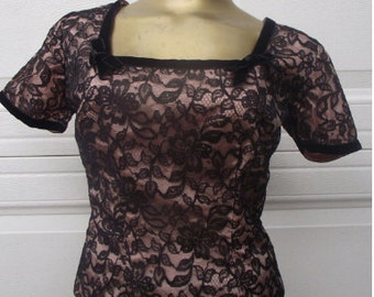 Sale!!! Vintage black lace illusion 50s 60s blouse top with velvet collar and bows sz Small Medium