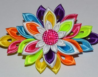 Handmade Girl's/Ladies SUMMER French Barrette Hair Clip, Kanzashi Style, Rainbow Colours