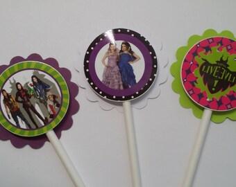 Set of 12 Disney Descendants Cupcake Toppers Picks Mal Evie
