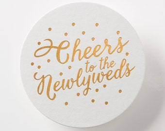 WEDDING Coasters, set of 25 – Cheers to the Newlyweds – Round, Foil Stamped Coasters, Wedding Favors, Reception Coasters, Party Favors 019-4
