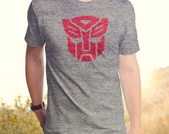 Transformers Autobot Logo (HAS0173-101TGR) Men's T-Shirt. Autobots, robots, Hasbro, comics, Optimus, Roll Out, 80's tees, Megatron, cartoon