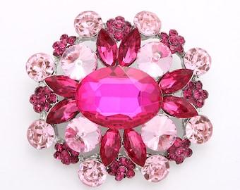 Rhinestone Pink Brooch, Magenta Pink Wedding Brooch, Pink Bridal Brooch, Pink Rhinestone Crystal Brooch, Pink Brooches for Wedding