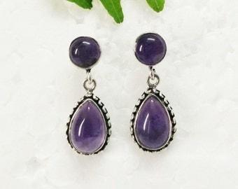 Natural PURPLE AMETHYST Gemstone Earrings, Birthstone Earrings, Fashion Handmade Earrings, 925 Sterling Silver Earrings, Drop Earrings