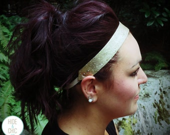 Boho Leather Headband- Champagne Glitter