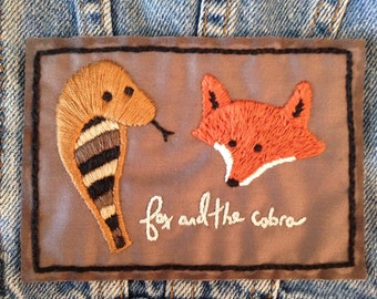 fox and the cobra patch hand embroidered hand stitched gray snake
