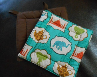 Set of Two Indian Sunrise with Elephants Handmade Quilted Pot Holders /Hot Pad