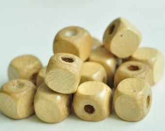 100pcs Light Brown Cube Natural Wood Beads Dice Pattern Square Cube Wood Bead 9mm MT159