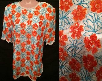 White blouse with orange flowers # 156