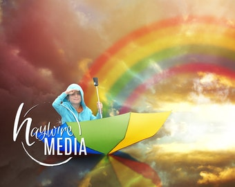 Baby Child Rainbow Umbrella Boat on Water with Cllouds Photography Digital Backdrop background for Photographers with PNG Coverup Layer
