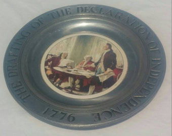 """Wilton Columbia RWP """"Drafting of the Declaration of Independence 1776"""" pewter plate"""