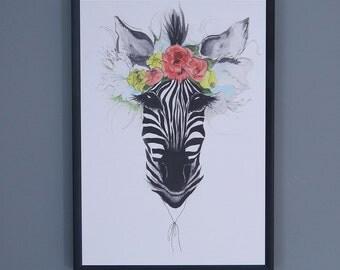 Blooming Zebra Print - A4