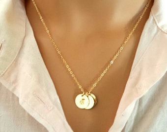 Personalized Monogram Necklace, Initial Disc Charm Necklace, Initial Necklace, mother, sister, girlfriend, wife, roses gold gift