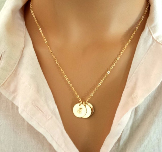 monogram necklace personalized necklace initial disc by. Black Bedroom Furniture Sets. Home Design Ideas