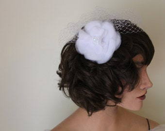 White Blusher Birdcage Veil with Fabric Flower and Clear Gems