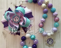 My Little Pony Rarity Chunky Bubblegum Bead Necklace, Bracelet and coordinating Hair Bow Set