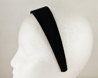 "Black velvet headband hair band accessory head band 1.5"" wide"