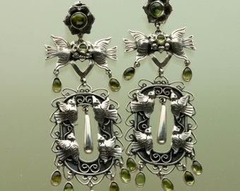 Sterling & Peridot Bird Earrings