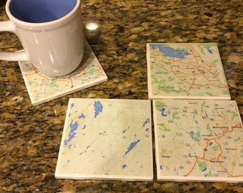 Custom Map Coasters - Set of 4