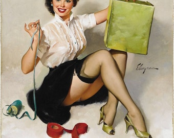 Gil Elvgren reproduction print size A4 measuring 210 by 297 millimetres (8.27 in × 11.7 in