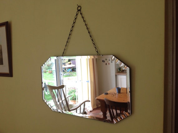 Large Vintage Art Deco 1930 S Wall Mirror With Beautiful