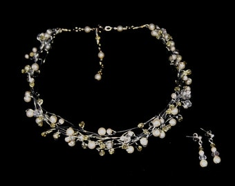 Crystal and Pearl Necklace and Earring Set, Bridal and Evening wear, Available in white, ivory and lemon