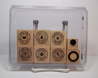 Stampin' Up! RIVETING 2-Step, Set of 8 Wood Mounted Rubber Stamps, New & Unused - Sayings for Love, Holidays, Thanks, Baby