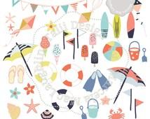 Summer Clip Art SUMMER Fun Clipart- 37 summer graphics beach party buckets kites flip flops surfboards sea shells handdrawn clipart