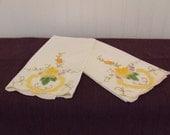 Vintage Embroidered Tea Towels, Hand Towels, Dish Towels, Linens, Set of 2