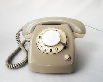 Mid Century Grey Rotary Telephone with converter WORKS