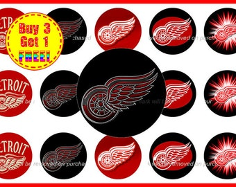 Detroit Red Wings NHL Hockey Bottle Cap Images - Detroit Red Wings NHL - 1 inch Bottle Cap images - Instant Download - Buy 3, Get 1 FREE!