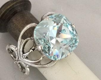 Swarovski Light Azore Filigree Ring,  Light Blue Crystal Adjustable Ring, Swarovski Blue Crystal Ring, Swarovski Light Azore Crystal Ring