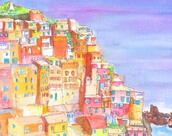 Watercolor Landscape Painting, Cinque Terre, ORIGINAL, 11x14 inch,Manarola, Italy, Mediterranean, Italian Architecture
