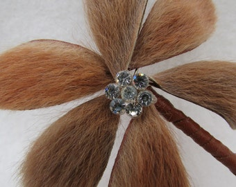 Large Vintage Flower Shaped Kangaroo Fur Brooch Pin Jewellery
